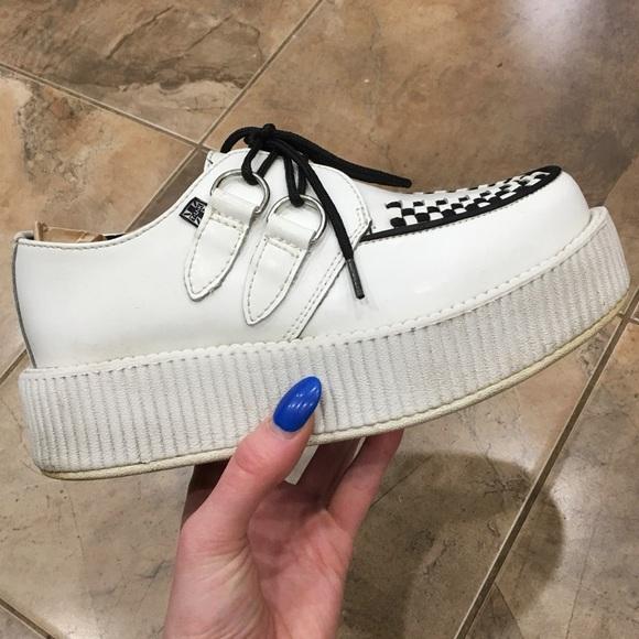 TUK White Platform Leather Creepers Shoes 6